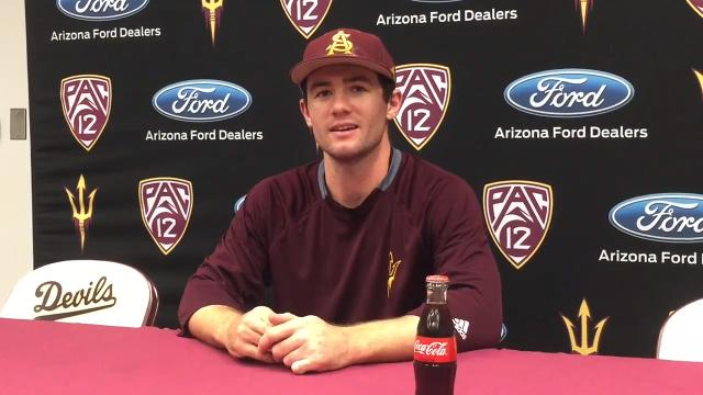 ASU's Gage Canning, coach Tracy Smith, Spencer Torkelson talk to the media after the Sun Devils' 18-4 win over Oregon on Saturday.