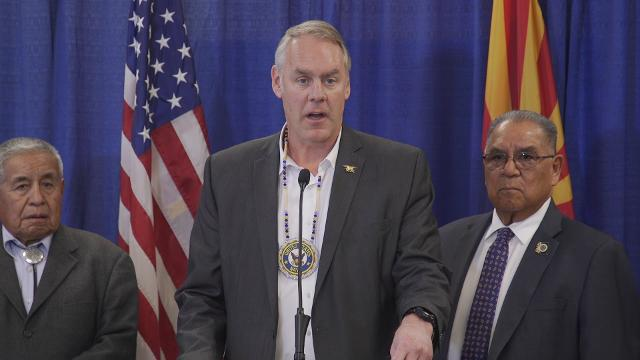 U.S. Interior Secretary Ryan Zinke held a press conference with Arizona tribal leaders to talk about the opioid epidemic.