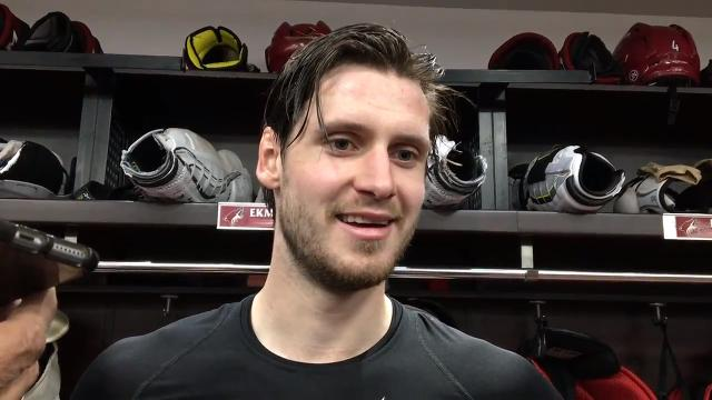 Coyotes defenseman Oliver Ekman-Larsson talks about scoring his 100th career goal on Monday against the Flames.