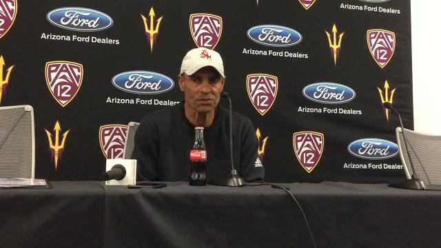 Arizona State football coach Herm Edwards on second week of spring practice and allowing fans to watch workouts