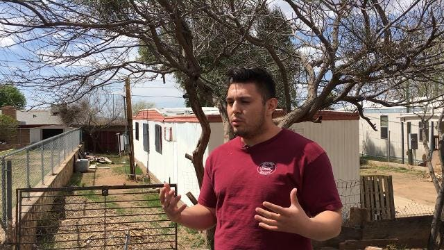 Tempe resident Jordan Romero speaks outside the home in Superior where his 2-year-old nephew and 10-month-old niece were found dead on March 26, 2018. azcentral.com
