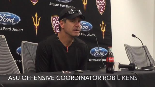 ASU offensive coordinator Rob Likens on Ryan Jenkins, Abe Thompson moving to offense and the offensive line.