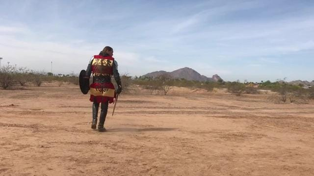 Knights battle it out at the groundbreaking of Medieval Times near Scottsdale.