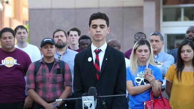 Saul Rascon Salazar, a junior at Brophy Prep., reacts to the Arizona Supreme Court's decision denying in-state tuition for Deferred Action for Childhood Arrivals (DACA). Michael Chow/azcentral.com