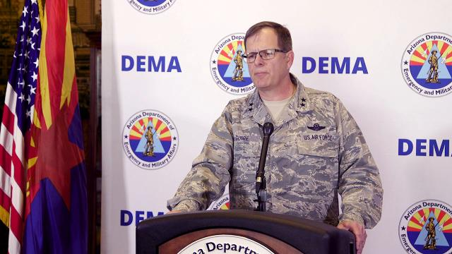 Maj. Gen. Michael McGuire holds a press briefing April 11, 2018, with new information on Operation Guardian Shield, the mission deploying the Arizona National Guard to the border with Mexico. David Wallace/azcentral.com