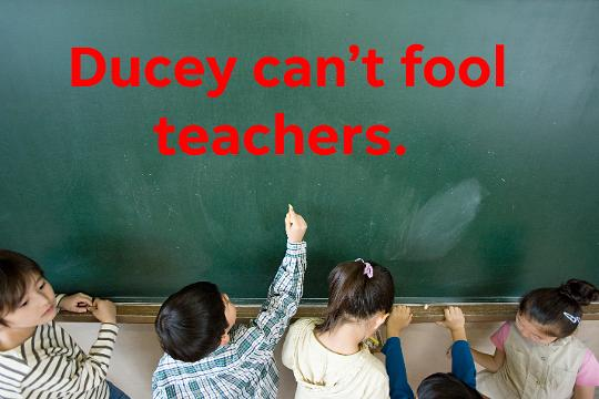 The governor can make all the promises he wants, but he should know teachers. They want him to show them his work.