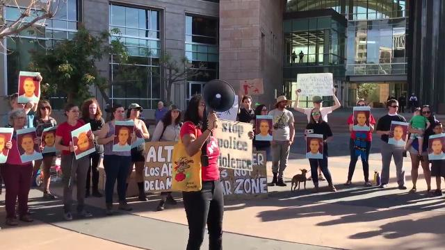 Protesters rally at the Tuscon federal courthouse after verdict for border agent