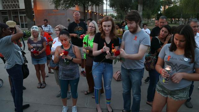 Students and adults from around the valley gather outside the State Capitol on May 21, 2018 to honor the victims of the school shooting at Santa Fe High school in Texas.