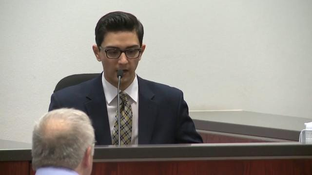 Steven Jones, on trial for first-degree murder and aggravated assault for the NAU shooting in October 2015, describes the shooting while testifying on April 20, 2017.