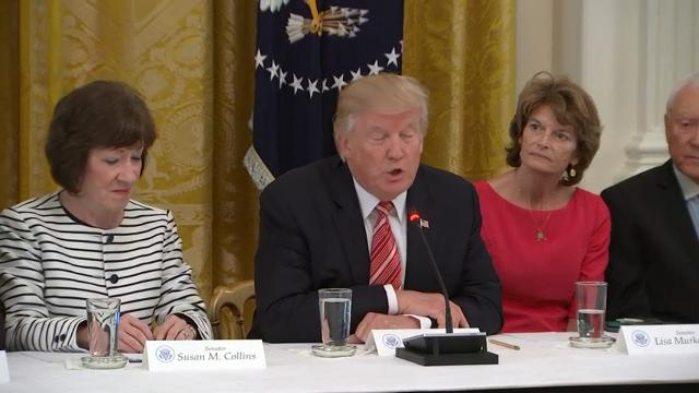 President Donald Trump and Vice President Mike Pence are hosting Republican senators at the White House to discuss flailing efforts to pass a new health care bill. (June 27)