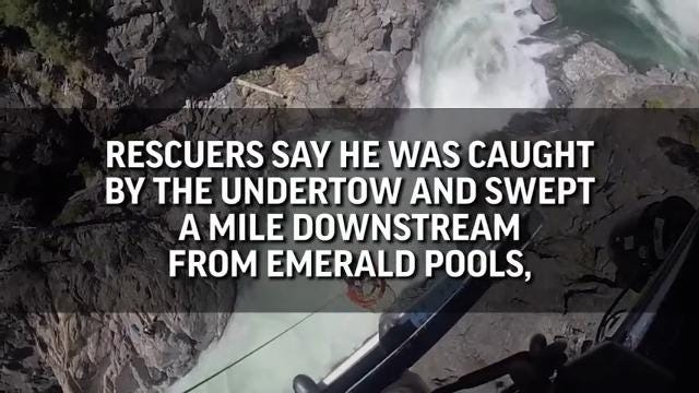 A Nevada man is safe after helicopter rescuers plucked him from a rock surrounded by swift-moving water above a nearly 50-foot waterfall in California. (June 27)