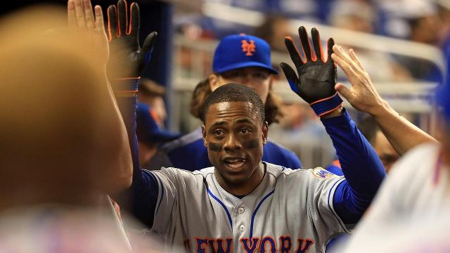 Mets centerfielder Curtis Granderson set a new franchise record with his 21st leadoff home run as a member of the Mets, moving him into fifth all-time.