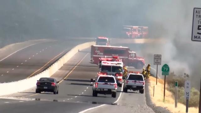 A wildfire in Riverside County, California, east of Los Angeles was reported to be 20% contained late Tuesday. The fire was covering 5,800 acres and nearby residents were warned to be ready to evacuate. (June 28)