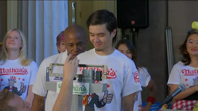 Nathan's hot dog eating contestants weigh in