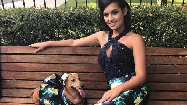 A Florida teen made her wiener dog a matching prom dress