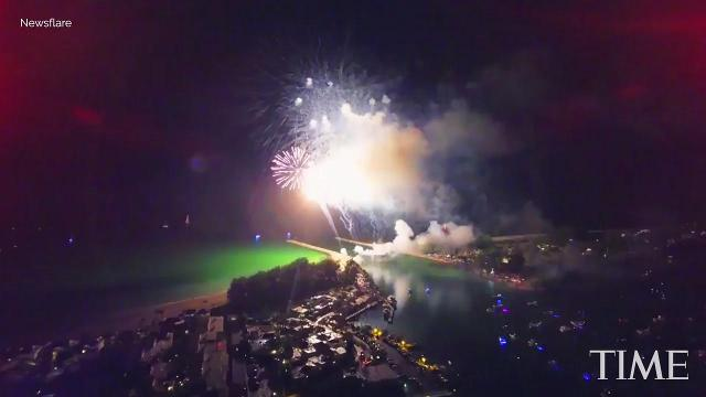 Drone films stunning fireworks and lightning on July 4th