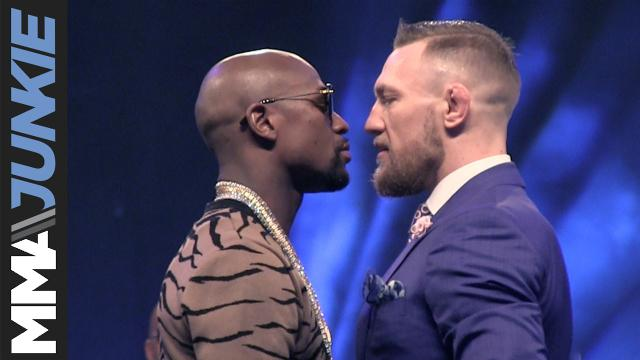 Floyd Mayweather Jr. and Conor McGregor face-off during the last stop on their promotional tour in London.