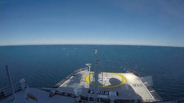 Raw: Time-lapse of ice breaker in Arctic Circle