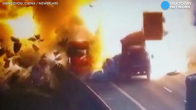 Truck drivers survive explosive crash