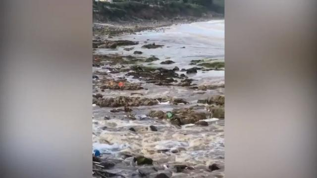 Raw: Flash Floods Hit English Coastal Village