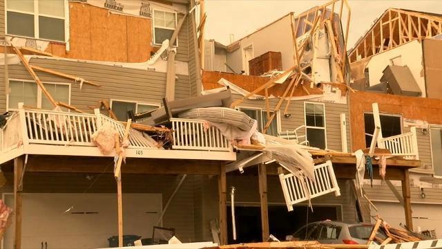 Raw: Tornado Damage in Eastern Maryland