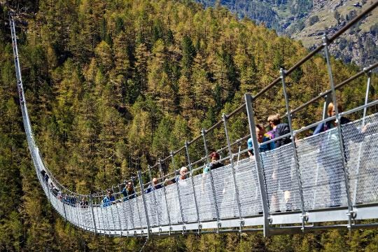 New record suspension bridge nearly third of a mile long