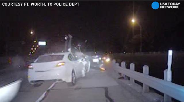 Texas cop sent airborne by drunk driver