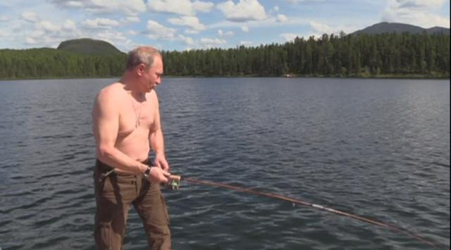 Shirtless Vladimir Putin fishes, dives and swims during Siberian vacation