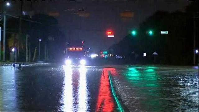Raw: Heavy rain floods Houston-area streets