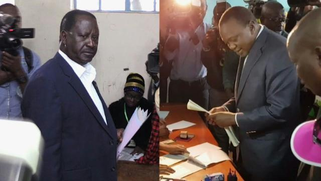 Presidential candidates cast votes in knife-edge Kenyan election