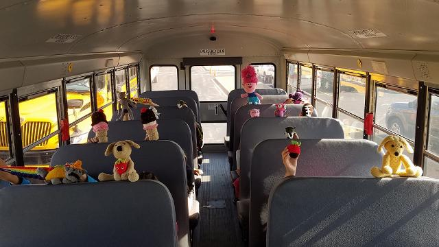 School bus driver crochets adorable toys for kids