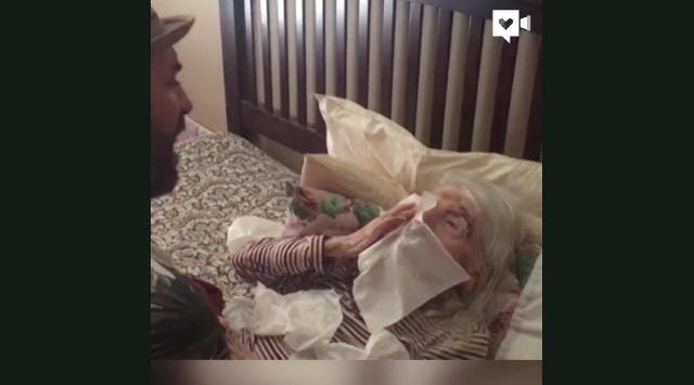 Man sings 'Unforgettable' to bedridden grandma on her 98th birthday