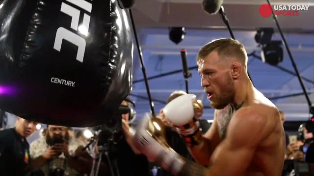 The fighters held open workouts in Las Vegas for a preview of their highly anticipated August 26th bout.