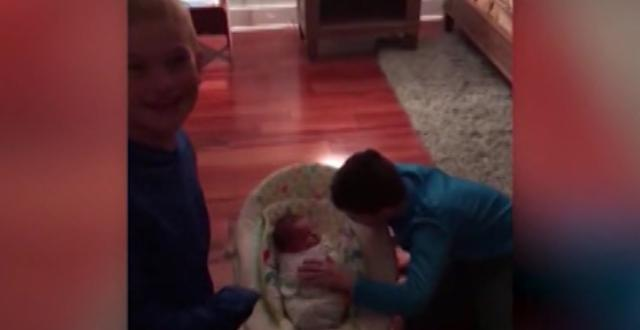 Boys overjoyed with surprise baby brother