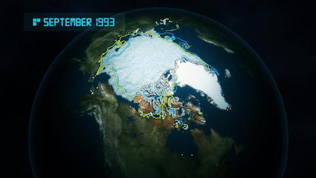 Animation shows disappearance of Arctic sea ice