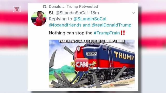 Trump retweets a 'Trump Train' hitting CNN, other tweets now deleted