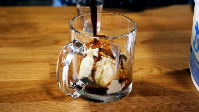This boozy dessert combines ice cream, rum, and espresso