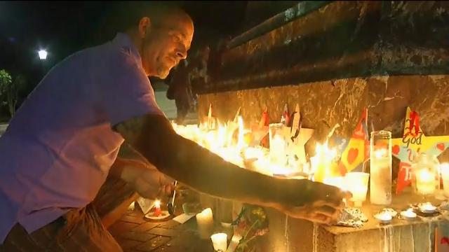 Raw: Candles Around Jefferson Statue After Vigil