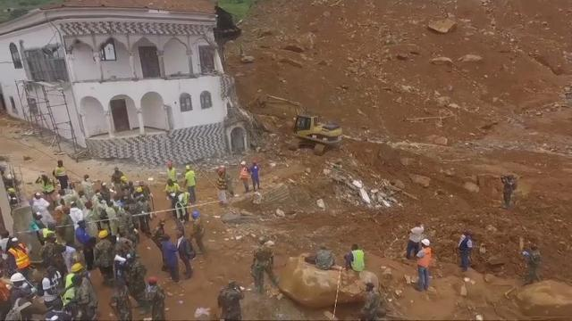 Raw: Drone video shows Sierra Leone mudslide