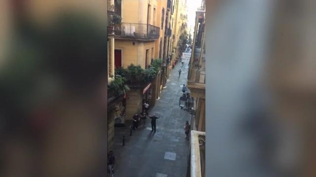 Raw: Barcelona pedestrians flee near van attack