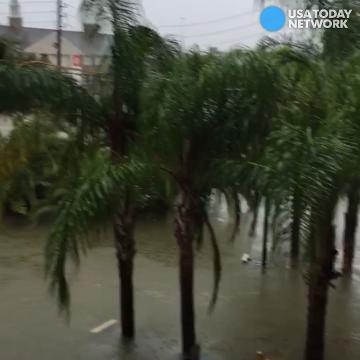 Watch flood waters rise outside apartment