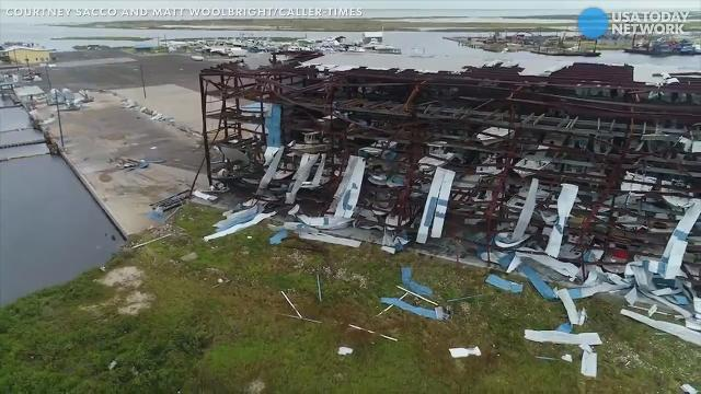 Drone footage shows full impact of Hurricane Harvey