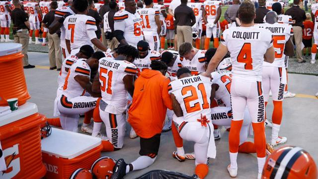 cleveland browns anthem protest leads to protest from police