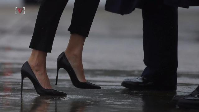 a7c47073ddab Melania Trump swaps stilettos for sneakers and a FLOTUS cap in ...