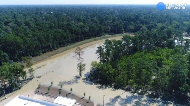 Aerial drone footage of Kingwood, Texas after Hurricane Harvey