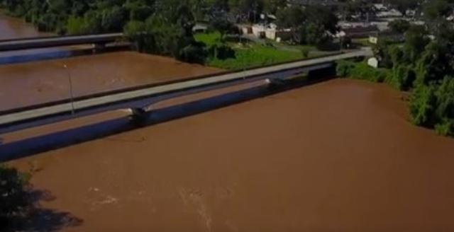 Drone footage shows river over 10 feet above flood stage after Harvey
