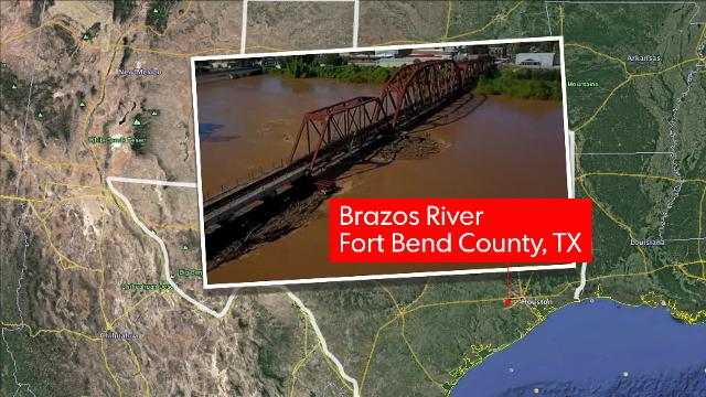 Drone footage of high water levels in the Brazos River in Fort Bend County, Texas.