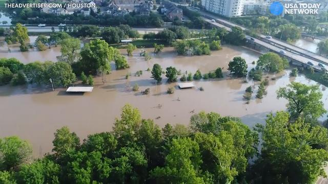 Drone footage shows Houston floodwaters receding