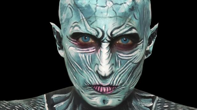 Makeup artist transforms herself into a White Walker