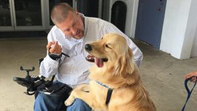 Coworkers surprise quadriplegic employee with money for service dog